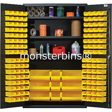 MSC-48 Cabinet with Shelves and Yellow Plastic Bins