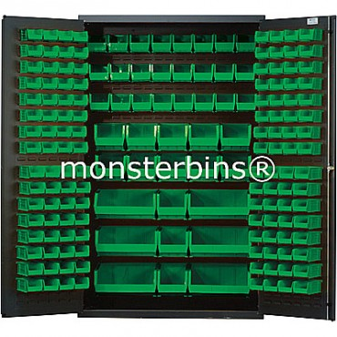QSC-48 Cabinet with Green Plastic Bins