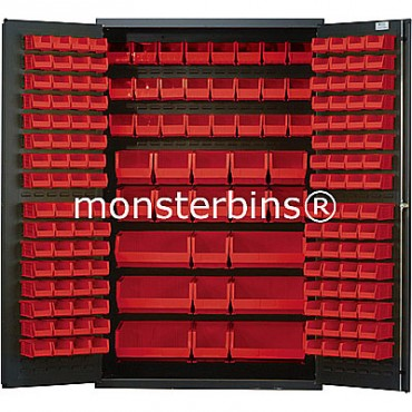 MSC-48 Cabinet with Red Plastic Bins