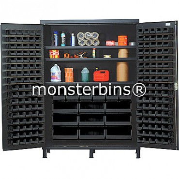 SSC-60 Cabinet with Shelves and Black Plastic Bins
