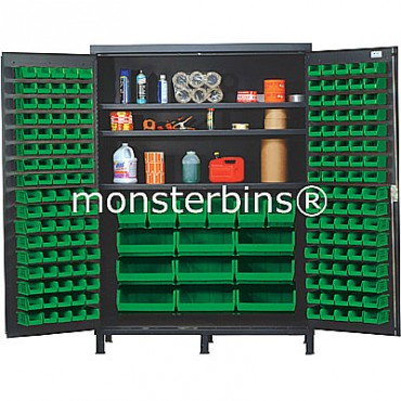 SSC-60 Cabinet with Shelves and Green Plastic Bins