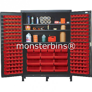 SSC-60 Cabinet with Shelves and Red Plastic Bins