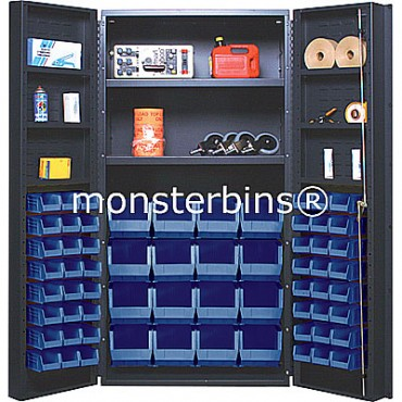 "36"" Cabinet with 2 Adjustable Shelves, 6 Door Shelves & 64 Stack Bins"