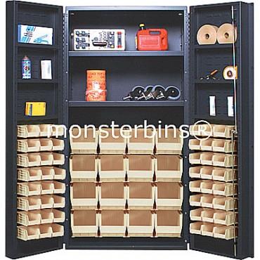 """36"""" Cabinet with 2 Adjustable Shelves, 6 Door Shelves & 64 Stack Bins"""
