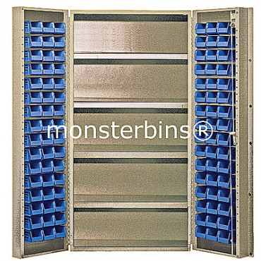 """Beige 36"""" Cabinet with 4 Adjustable Shelves & 96 Stack Bins"""