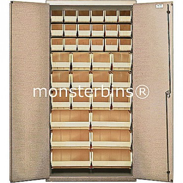 "Beige 36"" Cabinet with 36 Stack Bins"