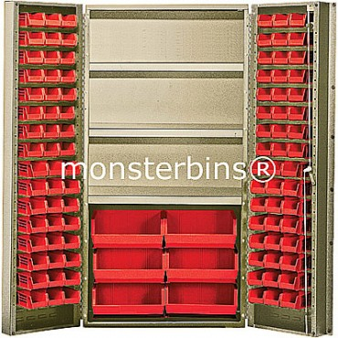 "Beige 36"" Cabinet with 102 Stack Bins"