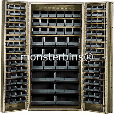 "Beige 36"" Cabinet with 132 Stack Bins"