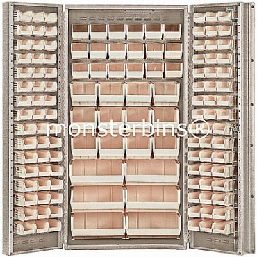 """Beige 36"""" Cabinet with 132 Stack Bins"""