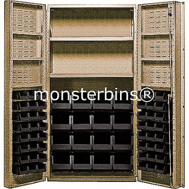 "Beige 36"" Cabinet with 2 Adjustable Shelves, 6 Door Shelves & 64 Stack Bins"