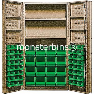 """Beige 36"""" Cabinet with 2 Adjustable Shelves, 6 Door Shelves & 64 Stack Bins"""