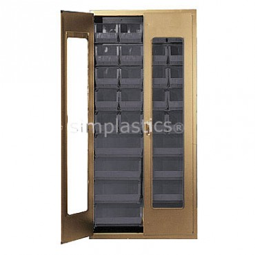 "Beige 36"" Clear-View Cabinet with 18 Stack Bins - 15""x16""x7"""