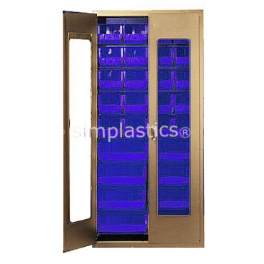 """Beige 36"""" Clear-View Cabinet with 28 Stack Bins"""