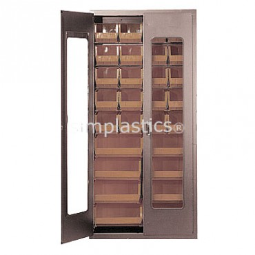 "Beige 36"" Clear-View Cabinet with 28 Stack Bins"