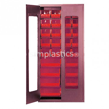 """Beige 36"""" Clear-View Cabinet with 18 Stack Bins - 15""""x16""""x7"""""""