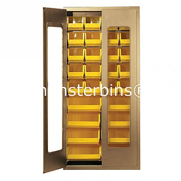 "Beige 36"" Clear-View Cabinet with 36 Stack Bins - 15""x8""x7"""