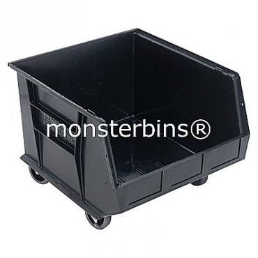 Monster MB275 Stacking Plastic Bins 18x16x11 Mobile  Black