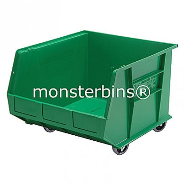 Monster MB275 Stacking Plastic Bins 18x16x11 Mobile  Green