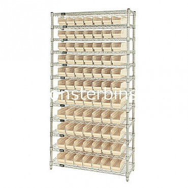 Wire Shelving Unit with 12 Shelves and 77 Shelf Bins (12x3x4)