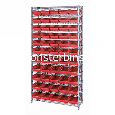Wire Shelving Unit with 12 Shelves and 55 Shelf Bins (12x6x4)
