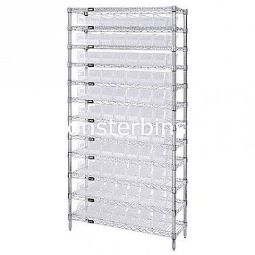 Wire Shelving Unit with 12 Shelves and 77 Clear Shelf Bins (18x4x4)
