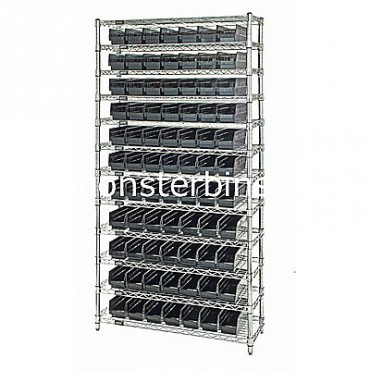 Wire Shelving Unit with 12 Shelves and 77 Shelf Bins (18x4x4)