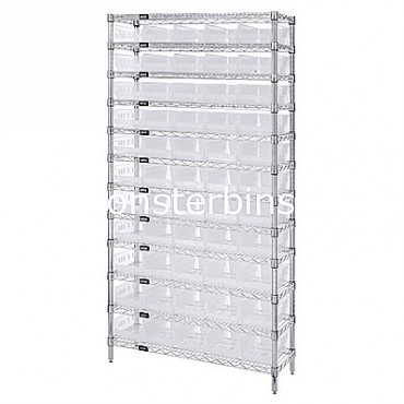 Wire Shelving Unit with 12 Shelves and 55 Clear Shelf Bins (18x6x4)