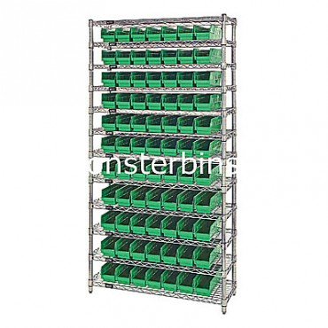 Wire Shelving Unit with 12 Shelves and 77 Shelf Bins (24x4x4)