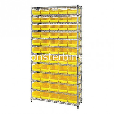 Wire Shelving Unit with 12 Shelves and 55 Shelf Bins (24x6x4)