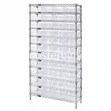 Wire Shelving Unit with 12 Shelves and 44 Clear Shelf Bins (24x8x4)