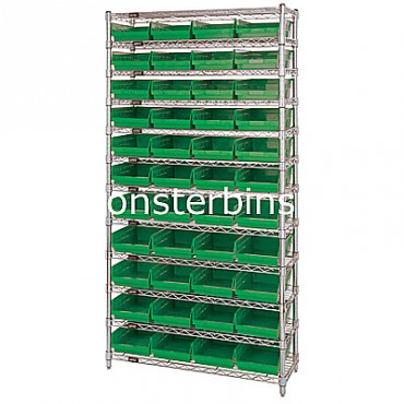 Wire Shelving Unit with 12 Shelves and 44 Shelf Bins (12x8x4)