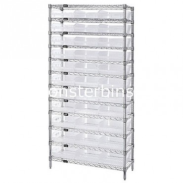 Wire Shelving Unit with 12 Shelves and 33 Clear Shelf Bins (18x11x4)