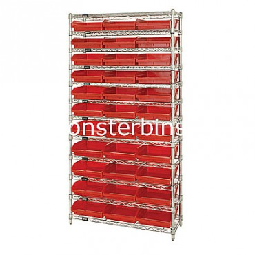 Wire Shelving Unit with 12 Shelves and 33 Shelf Bins (12x11x4)