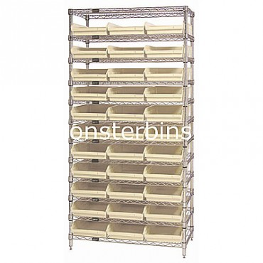Wire Shelving Unit with 12 Shelves and 33 Shelf Bins (24x11x4)