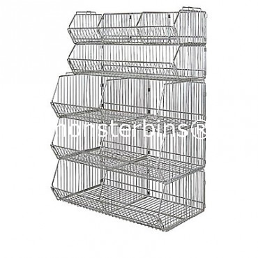 Wire Basket Unit - 5 Baskets, 5 Dividers