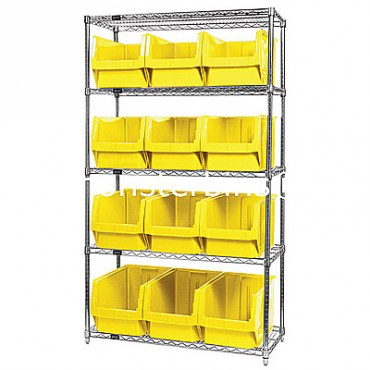 Wire Shelving Unit with 5 Shelves and 12 QMS533 Bins