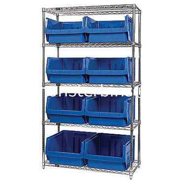 Wire Shelving Unit with 5 Shelves and 8 QMS543 Bins