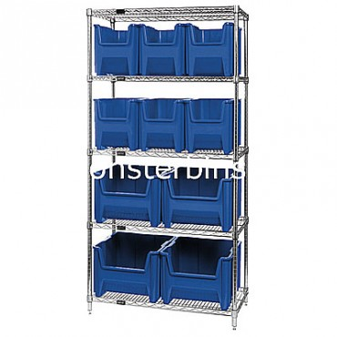 Wire Shelving Unit with 5 Shelves and 6 QGH600, 4 QGH800 Bins