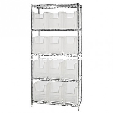 Wire Shelving Unit with 5 Shelves and 12 QGH600 Clear Bins