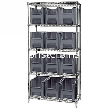 Wire Shelving Unit with 5 Shelves and 12 QGH600 Bins