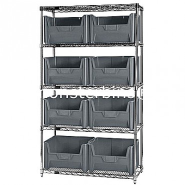 Wire Shelving Unit with 5 Shelves and 8 QGH700 Bins