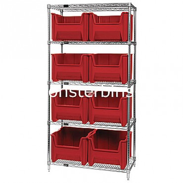 Wire Shelving Unit with 5 Shelves and 8 QGH800 Bins