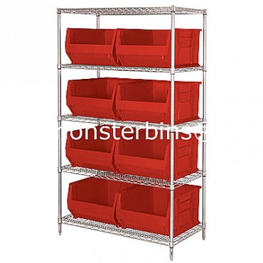 Wire Shelving Unit with 5 Shelves and 8 QUS975 Bins