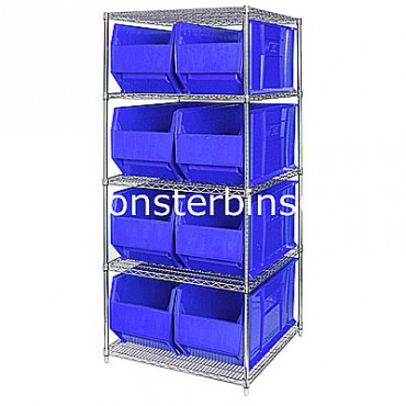 Wire Shelving Unit with 5 Shelves and 8 QUS993 Bins