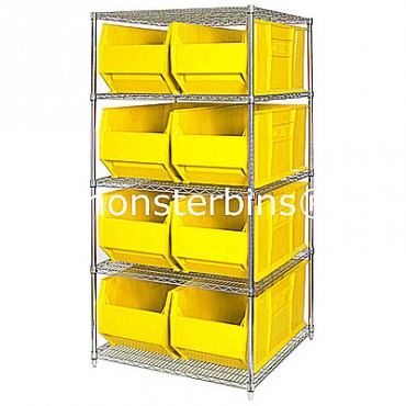 Wire Shelving Unit with 5 Shelves and 8 QUS955 Bins