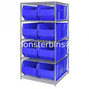 Wire Shelving Unit with 5 Shelves and 8 QUS997 Bins