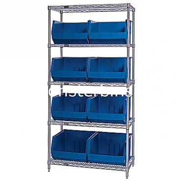 Wire Shelving Unit with 5 Shelves and 8 QUS270 Bins