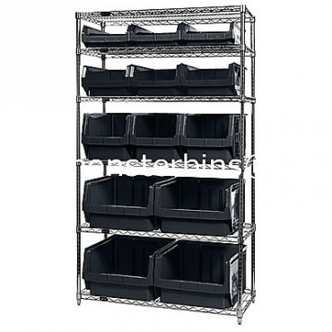 Wire Shelving Unit with 6 Shelves and 3 QMS531, 3 QMS532, 3 QMS-533, 4 QMS543 Bins