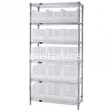 Wire Shelving Unit with 6 Shelves and 15 QUS260 Clear Bins