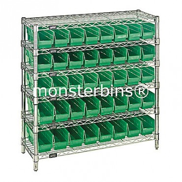 Wire Shelving Unit with 6 Shelves and 40 Shelf Bins (12x3x4)